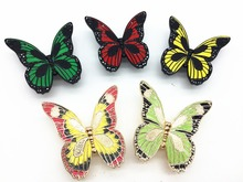 Color fluorescent handle vintage antique Butterfly art continental pastoral country cabinet door handle (Size:69*68*18mm)