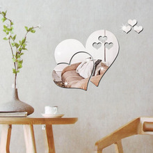3D Heart Mirror Wall Sticker DIY Art Mural Removable Three Dimensional Living Room Home Decoration 2017