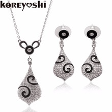 2016 Brand Luxury New Fashion silver plated Clear Crystal Wedding Party Drop Necklace Earring Set for Women Princess Jewelry Set