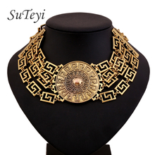 SUTEYI fashion Europe and the United States foreign trade sales vintage metallic alloy big necklace medusa choker jewelry 2017