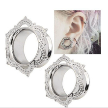 Fashion Flesh Tunnels Ear Plugs Big Gauge Piercing Ear Expanders Silver Gold Color 6- 16mm Body Jewelry Stretcher 2pcs/lot BES01