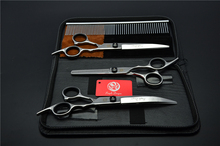 4Pcs Set 3001-Z# 7'' Hairdressing Scissors Bent Down Curve + Comb +Cutting +Thinning Shears Dogs Cats Pets Hair Scissors Suit(China)