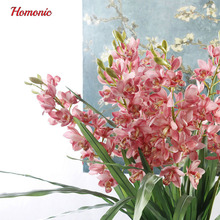 Real Touch cymbidium 21 heads high  table decoration flower DIY wedding bride hand flowers home decor artificial orchid