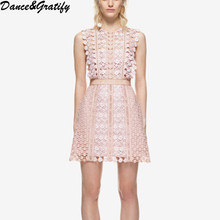 High Quality 2017 New Summer Style Women Embroidery Floral Lace Runway Dress Elegant Party Ladies Mini Short Tank Dreeses(China)