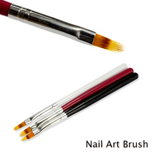 1pcs Gradient Drawing Nail Brush Wood Handle Nylon Hair Ombre Brush UV Gel Painting Pen Black White Red Manicure Tool TR285(China)