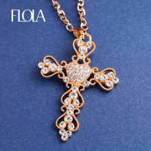 Fashion Jewelry Gold Cross Necklace Pendant Big Rhinestone Necklace Hollow Necklaces Pendants Women Men Jewelry Hip Hop nkek05(China)