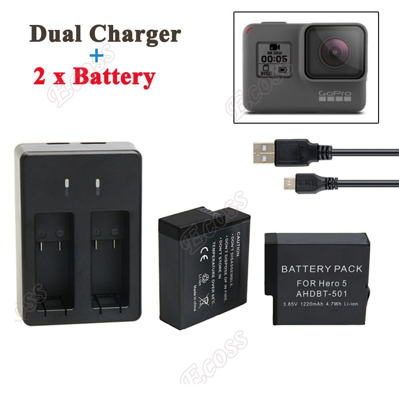 GoPro Hero 5 Battery 2PCS 1220mAh GoPro 5 Battery + USB Dual Battery Charger For GoPro Hero5 Black Camera Accessories<br><br>Aliexpress