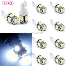 10x T10 5050 SMD 5-LED 194 168 W5W 360 Degree Wedge Bulb XENON WHITE Car Tail light #S018Y# High Quality
