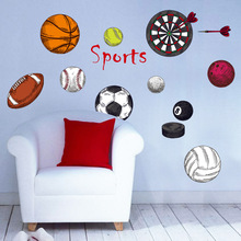 Sports style Basketball Rugby Football Darts PVC wall stickers for kids rooms living room DIY Wall Stickers Mural Art wallpaper(China)