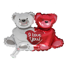 1pc size 38*26.5cm Foil Balloons Double Bear Hug Heart Foil Helium Balloons Party Valentines Wedding Party Decor(China)