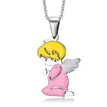MiLaTu Great Promotions Angel Baby Necklaces & Pendants For Men Women Stainless Steel Lovers' Necklace With Chain NE063G