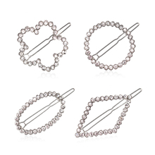 M MISM 2017 New Fashion Women Geometric Hairpins Rhinestone Barrettes Oval Round Hair Clips Girls Headwear Hair Accessories