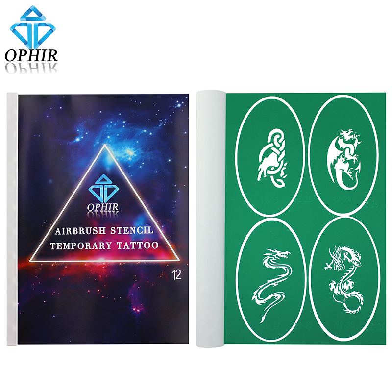 OPHIR Professional Dragon Combination Airbrush Stencils Temporary Tattoo Body Paint Template A4 Booklet 100x Pattern_STE12<br>