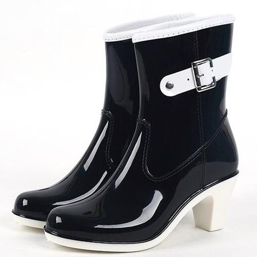 2017 Fashion Rain Boot Waterproof Women Boots Rubber Jade Stretch Shoes Black/White/Brown/Khaki Plus Size 36-39<br><br>Aliexpress