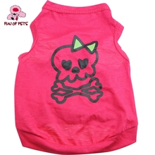 2017 Cute skull Pattern 100% Cotton vest for Pets Dogs Rose Dog Clothes for Dog Cats