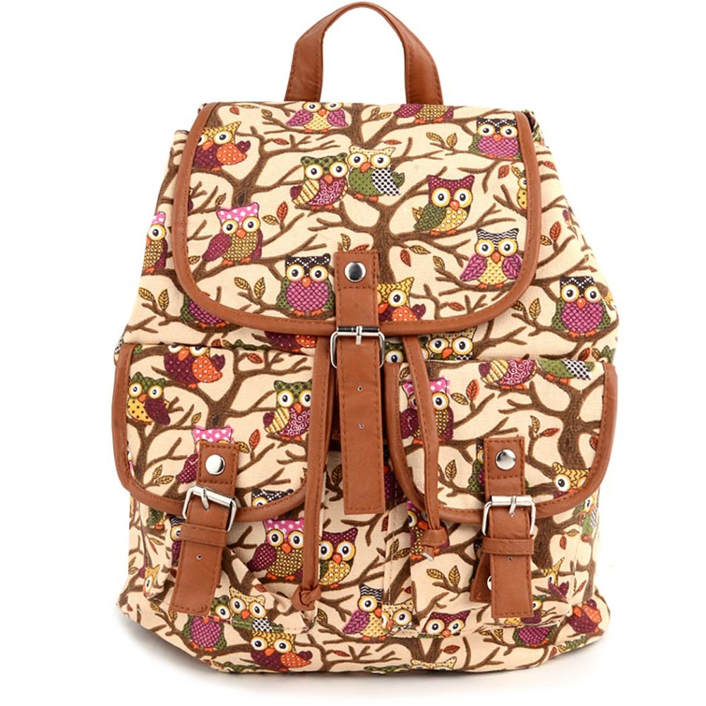 Women  Owls Pattern Canvas Backpack Shoulder Bag Students Schoolbag Book Cute Cartoon Bag<br><br>Aliexpress