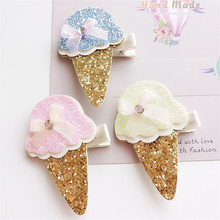 15pc/lot Summer Glitter Ice Cream Hair Clips Sweet Ice Pop Kid Barrettes Gold Cone Cup Ice-cream Cute Dessert Girl Hairpin Gift(China)