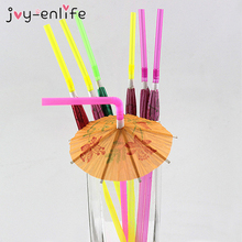 JOY-ENLIFE 20pcs 3D Paper Umbrella Cocktail Drinking Straws Novelty Party Bar Decor Wedding Hawaiian Pool Party Decor Supplies