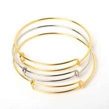 Hot sale New Fashion Gold Silver Plated Charming Expandable Women Lady Wire adjustable bangle Bracelet For fashion gift Charms