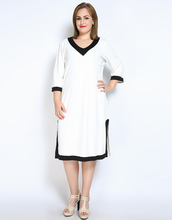 Cute Ann Women's Sexy V-neck Plus Size Casual Dress Three Quarter Sleeve Color Blocked Cocktail Party Midi Dress Spring Wear