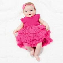 Factory Price Baby Girls Dress Rose Cake Dress Princess Dresses Cotton Blends Top Clothes 0-3Y