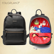 Colorland PU Leather Baby Bag Organizer Tote Diaper Bags Mom Backpack Mother Maternity Bags Diaper Backpack Large Nappy Bag