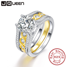 JQUEEN 2.6Ct Topaz S925 Sterling Silver Ring Set with 18k Gold Plated Tail Ring Real Silver Couple Wedding Rings For Women