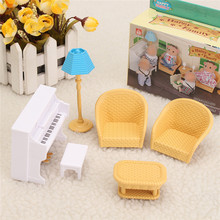 Mini Cute Sofa Piano Table Miniature Furniture Sets For 1/12 Miniatures Doll House Decor Plastic Craft Kids Christmas Gift Toy(China)