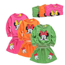 (LL84)2016 New Toddler Baby Girls Dress Summer Clothing Set Kids Minnie Mouse Skirt Bloomer Shirt Top Outfit Set Micky Outfits C