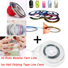 30 Rolls + 1 Case Mixed Colors Rolls Striping Tape Line DIY Nail Art Tips Decoration Sticker Nail Art Metallic yarns strips Tool