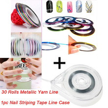 30 Rolls + 1 Case Mixed Colors Rolls Striping Tape Line DIY Nail Art Tips Decoration Sticker Nail Art Metallic yarns strips Tool(China)