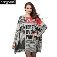 TANGNEST Loose Newspaper Print Wool Blend Knitted Sweater 2017 Woman European American Casual Batwing Sleeve Pullover WZM1167