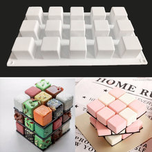 Qian Yi 15 lattices porous magic  square mousse mold cube baking diy chocolate mousse cake silicone mold dessert cup cake tools