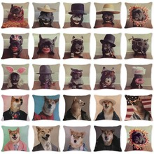 Accent Pillow Cushion Covers Chic Animal Boxerdog Pillow Case Seat Cover Rectangle Cotton Linen Home Furniture Cover Pillow(China)