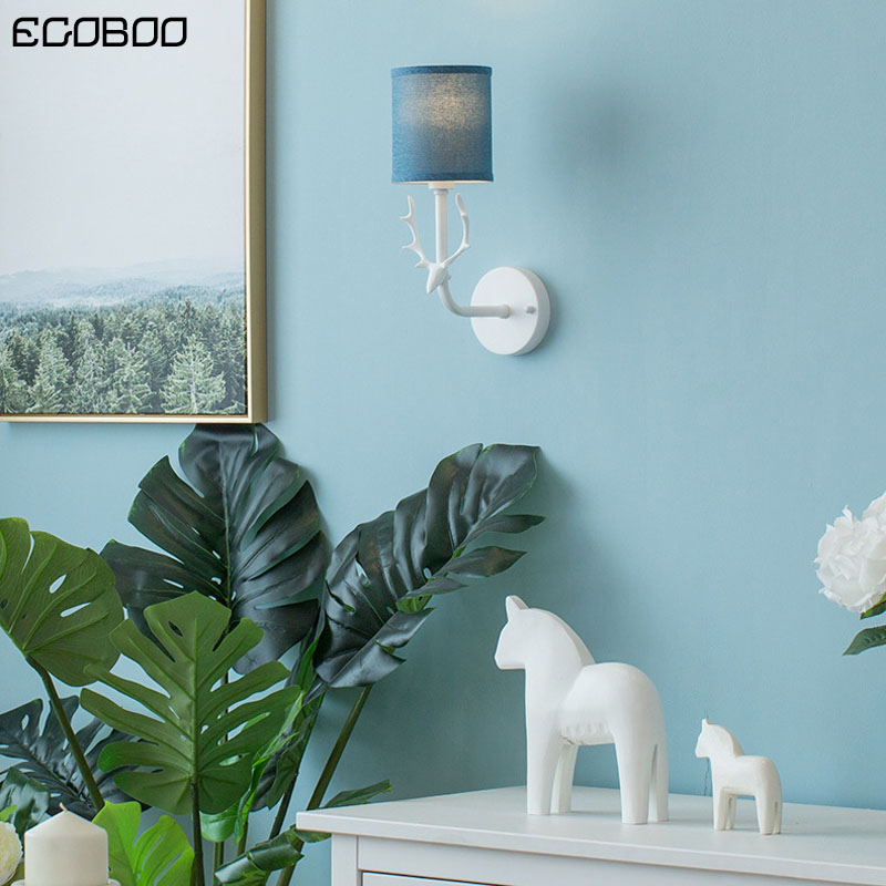 Modern LED simple wall lamp creative deer head fabric lampshade living room bedroom bedside lamp background lighting