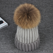 2016 Cotton 15CM 100% Real Raccoon Fur Pompon Winter Hats Mix Color Warm Brand Casual Knitted Women Fur Hats Skullies Beanies