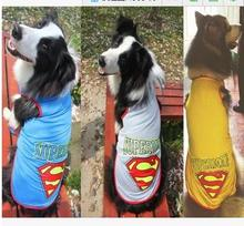 5pc/lot Big sale Cotton Large Dog Superman TShirts Clothes Top Vest For Big Dogs Coat Summer Pet Clothes 3XL-6XL Y08(China)