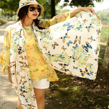 New Fashion 2016 Butterfly Scarves Women's Scarf Summer Style Long Shawl Spring Chiffon Infinity Scarf High Quality DP676375