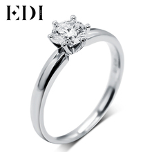 Real Moissanite (D-F VVS) Solitaire Elice 9k White Gold Ring 1CT Round Cut Brilliant Lab Grown Diamond Wedding Jewelry For Women