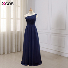 Navy Blue Long Chiffon A Line Pleated Bridesmaid Dress Under $50 Dark Purple Wedding Party Dress 2016 Robe Demoiselle D'honneur(China)