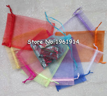 17x23cm Mixed Color Drawable Organza Jewelry Bags Embalagens Para Presente Christmas /Wedding Gift Bags 500pcs/lot Wholesale(China)