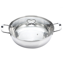 Stainless Steel Hot Pot Thick Stainless Steel Pots Cooker Special Pot With Glass Lid Kokend Picknick Pot Fondue Soeppan 30/32CM