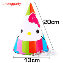 12pcs Cartoon KT Cat birthday Caps kids Paper Hats Caps children party Supplies Favor Cartoon character party decoration