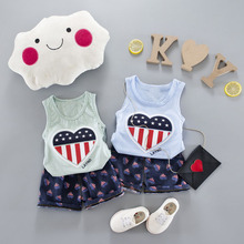 WYNNE GADIS Summer Baby Boys Sleeveless Heart Flag Tank Vest Tops + Shorts Kids Casual Tracksuits Two Pieces Suits Infant Sets
