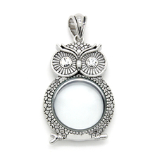 3Pcs/Lot 2016 Newest Design Silver Plated Owl Cross Crown Shape Floating Locket Necklace Pendant Antique Floating Locket KTPD09(China)