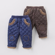 brand high quality 2016 autumn winter baby boys long pants thicken boy warm brown elastic mid waist children pant blue 12M to 6T