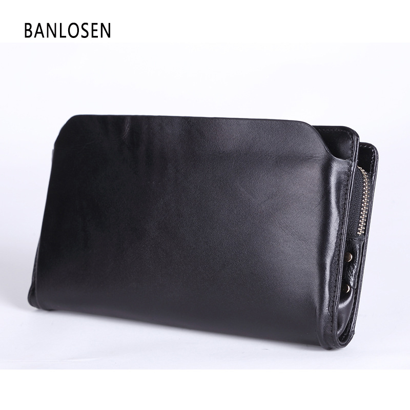 New 2016 Vintage Business Hand Bag Men Clutch Bags Long Genuine Leather Wallet Luxury Brand Male Wallets with Wristlet YS1219<br>