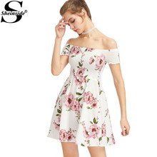 Sheinside White Floral Dress Women Cute Bardot Ditsy Print Smock A Line Summer Dresses 2017 Sexy Off Shoulder Ruched Party Dress(China)