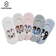 New Spring Summer Cartoon Cute Puppy Husky Pomeranian Pattern Sox Fashion Cotton Creative Funny Crew Socks Invisible Boat Sokken