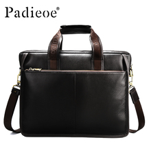 PADIEOE 2017 Luxury Brand Men's Briefcase Casual Business Notebook For Male Genuine Leather Briefcase For Men Business handbags(China)